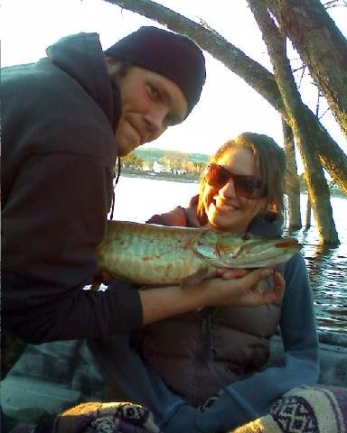 Derick and Nicole posing with Nicole's first Muskie of the season!