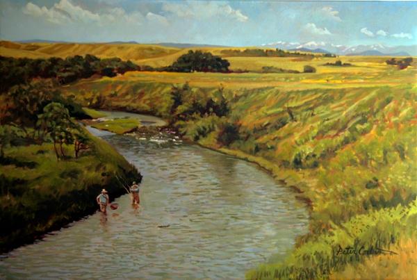 "Oil on Canvas- ""A Good Fish"": Peter Corbin"