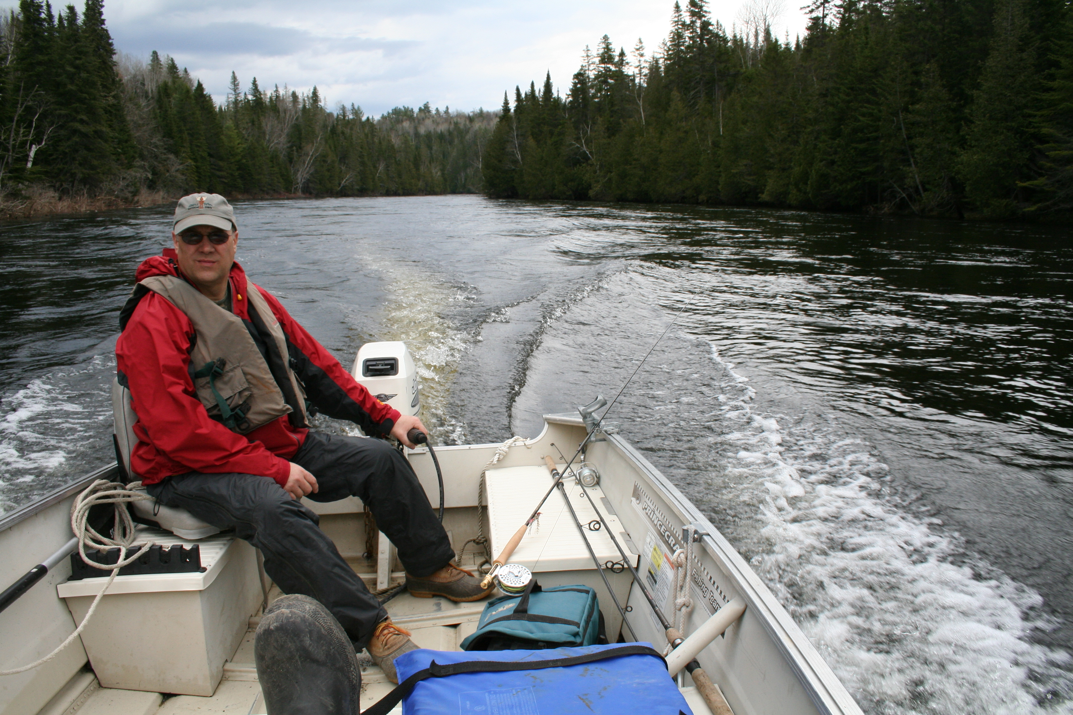 Dad navigating the flowing currents of the River.