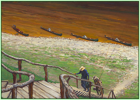 """""""In Salmon Camp"""" By Galen Mercer"""