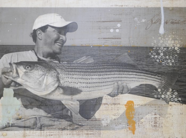 Jeremy and his monster Striped Bass: Art by LivingProofDesigns.com