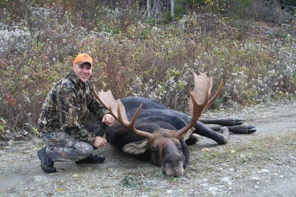 Giving credit where credit is due. My guide and the moose he closed the gap on before I could pull the trigger.